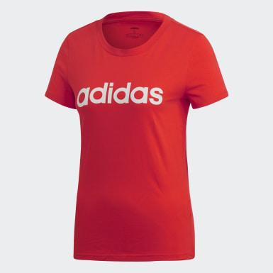 T-shirt Essentials Linear Rosso Donna Athletics