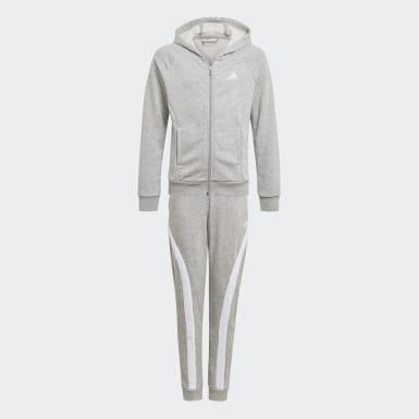 Girls Training Grey Bold Hooded Tracksuit