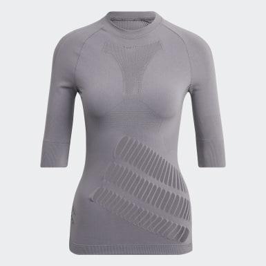 Women adidas by Stella McCartney Beige adidas by Stella McCartney TRUESTRENGTH Warp Knit T-Shirt