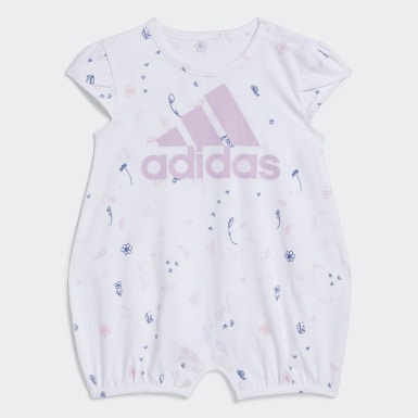 Infant & Toddler Training White Shortie Print Rompers