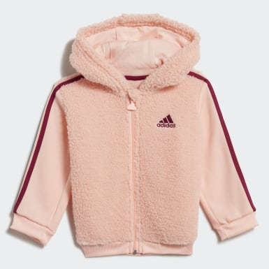 Girls Træning Pink Fur Full-Zip Hooded joggingsæt
