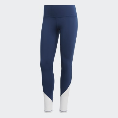 Mallas Largas Believe This  Elevated - Corte Alto Azul Mujer Training