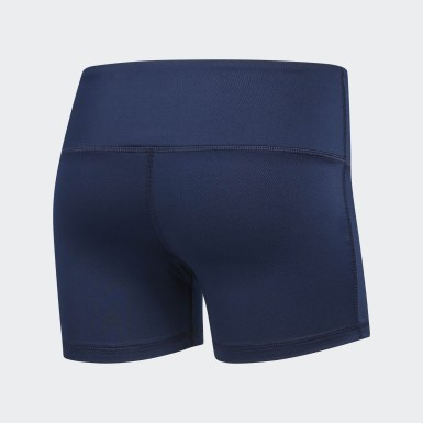 Women Volleyball Blue Four-Inch Short Tights