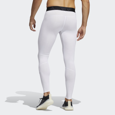 Men's Yoga White Techfit Long Tights
