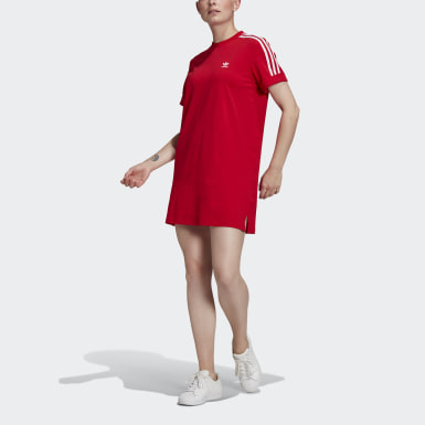 Women Originals Red Adicolor Classics Roll-Up Sleeve Tee Dress