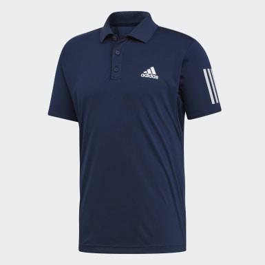 Heren Padel Tennis blauw 3-Stripes Club Poloshirt