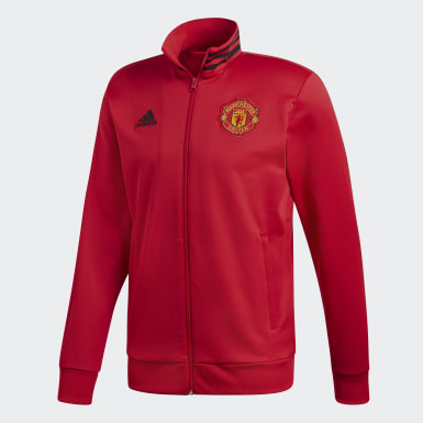 Men Football Red Manchester United 3-Stripes Track Jacket