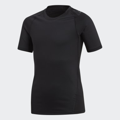 T-shirt Alphaskin Sport Nero Ragazzo Yoga