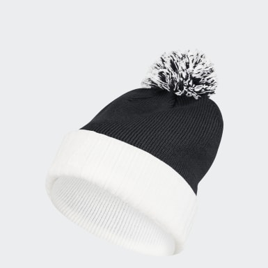 Men's Training Black Cuffed Knit Pom Beanie