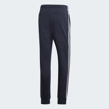 Heren Athletics blauw Essentials 3-Stripes Tapered Cuffed Broek
