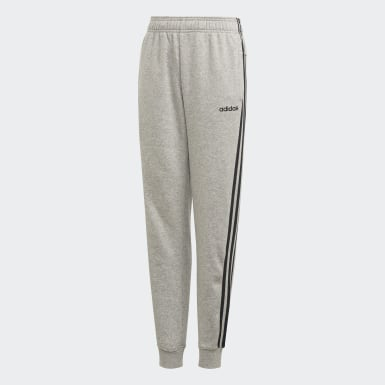 Boys Training Grey Essentials 3-Stripes Pants