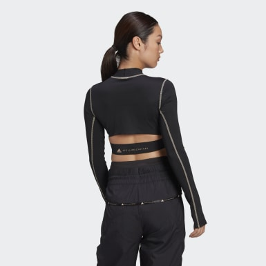 Women adidas by Stella McCartney Black TruePace Long Sleeve Crop Top