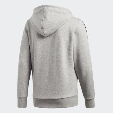 Men Training Grey Essentials 3-Stripes Fleece Hoodie