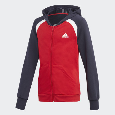 Girls Training Red Hooded Cotton Track Suit