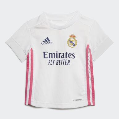 Kit Principal 20/21 do Real Madrid para Bebé Branco Criança Futebol