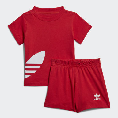 Děti Originals červená Souprava Big Trefoil Shorts Tee