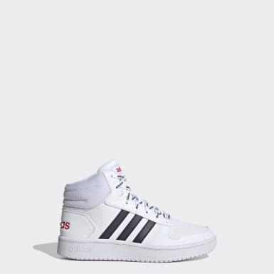 Children Essentials White Hoops Mid 2.0 Shoes