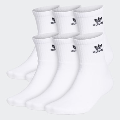 Men's Originals White Trefoil Quarter Socks 6 Pairs