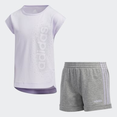 Children Training Purple French Terry Shorts Set