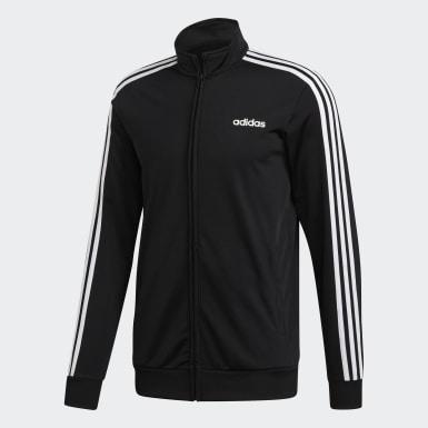 Mænd Træning Sort Essentials 3-Stripes Tricot træningsjakke