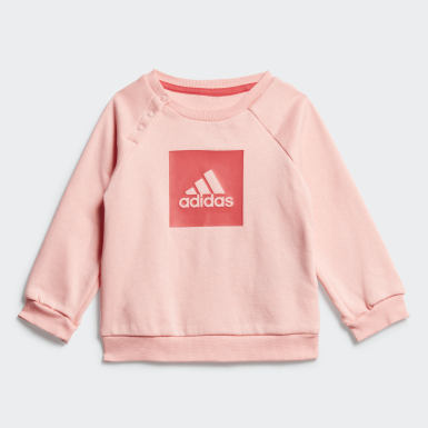 Infants Training Pink 3-Stripes Fleece Jogger Set
