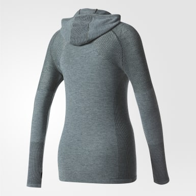 зеленый Лонгслив для бега Primeknit Wool Hooded