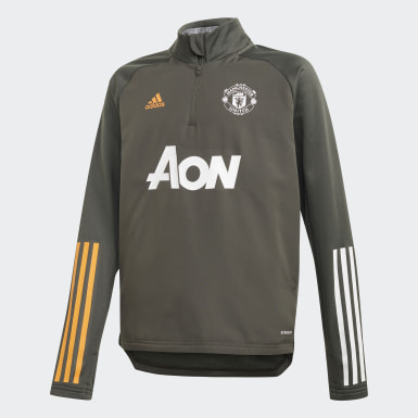 Haut Manchester United Warm Vert Enfants Football