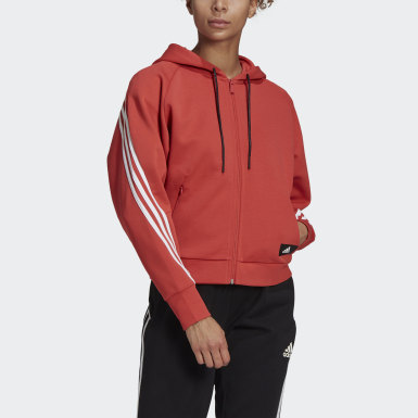 Dames Athletics Rood adidas Sportswear Wrapped 3-Stripes Ritshoodie