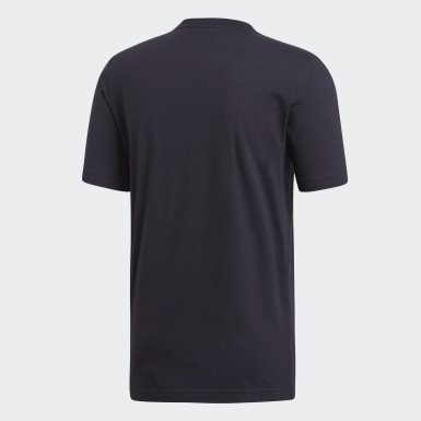 Men Training Black Essentials Plain Tee