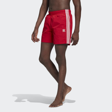 Herr Originals Röd Adicolor Classics 3-Stripes Swim Shorts