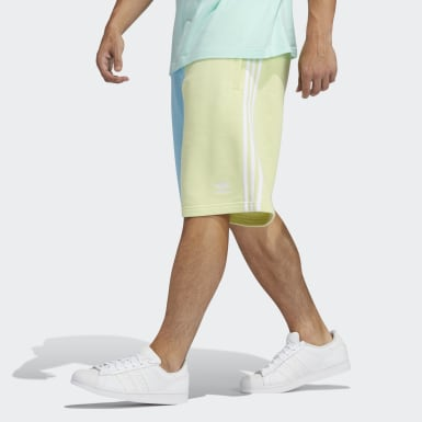 Blocked 3-Stripes Sweat Shorts Żółty