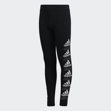 Children Training Black Core Graphic Tights