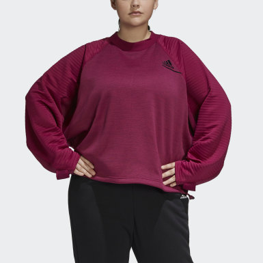 Felpa adidas Z.N.E. Athletics Crew (Taglie forti) Bordeaux Donna Athletics