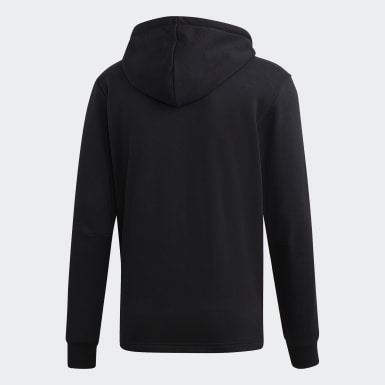 Polera con Capucha Must Haves 3 Tiras French Terry Negro Hombre Training