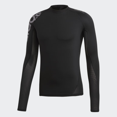 Men Training Black Alphaskin Badge of Sport Long-Sleeve Top