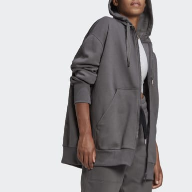 Women adidas by Stella McCartney Grey Full-Zip Hoodie