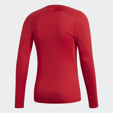 Men Football Red Alphaskin Sport Long-Sleeve Top