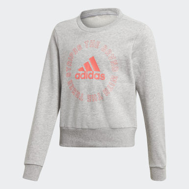 Girls Training Grey Bold Crew Sweatshirt
