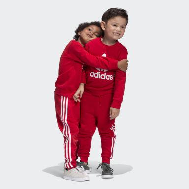 Deti Originals červená Súprava Crew Sweatshirt