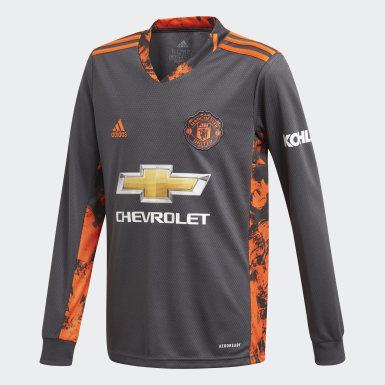 Camisola Principal de Guarda-redes 20/21 do Manchester United Cinzento Criança Futebol