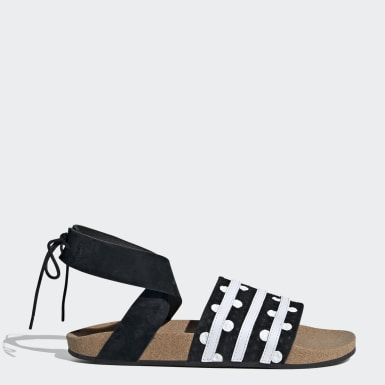 Women Originals Black Adilette Ankle Wrap Sandals
