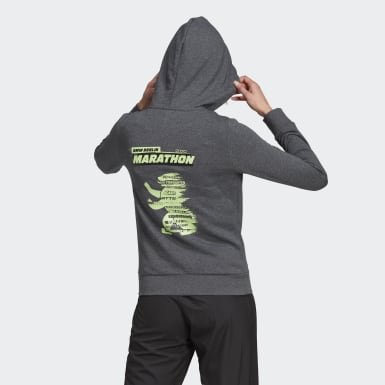 Women Running Grey Essentials 3-Stripes Full-Zip Hoodie