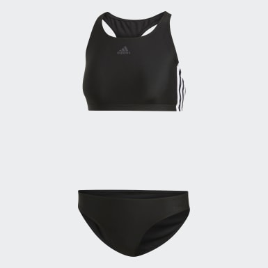 Frauen Schwimmen 3-Streifen Bikini Schwarz