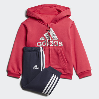 Girls Träning Rosa Fleece Hooded Jogger Set