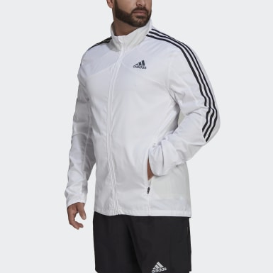 Men Running White Marathon 3-Stripes Jacket