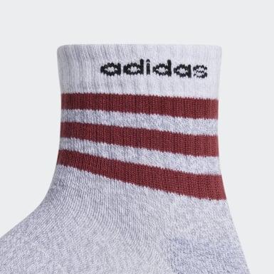 Men's Training White 3-Stripes High Quarter Socks 3 Pairs