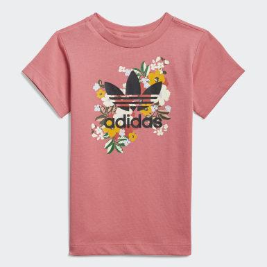 เด็กผู้หญิง Originals สีชมพู ชุดกระโปรงเสื้อยืดและกางเกงลายดอกไม้ HER Studio London