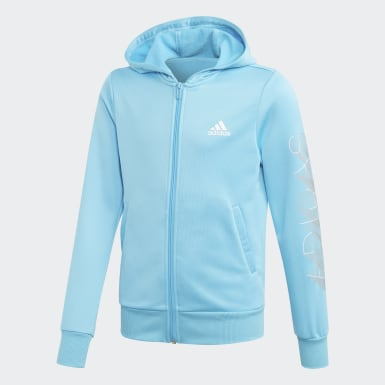 Youth 8-16 Years Training Turquoise Hooded Polyester Tracksuit