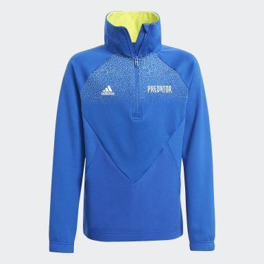 Youth 8-16 Years Training Blue Predator Football-Inspired Half-Zip Track Top