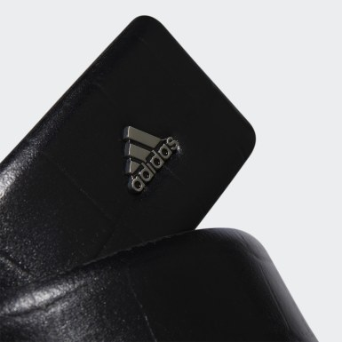Men Golf Black 3-Stripes Chrome Leather Belt